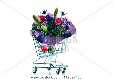 Mixed Colours of Bouquets in Shopping Cart