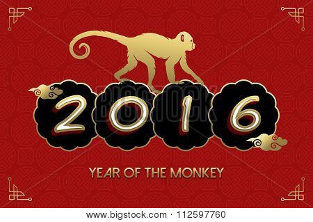 Chinese New Year 2016 Monkey Gold Red Card