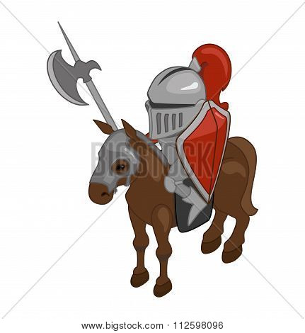 Knight On Horseback With A Spear. Vector. Isometric