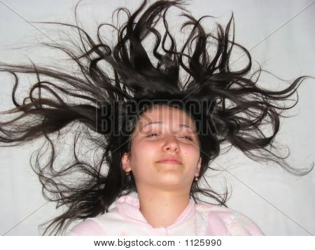 Girl With Long Scattered Hair