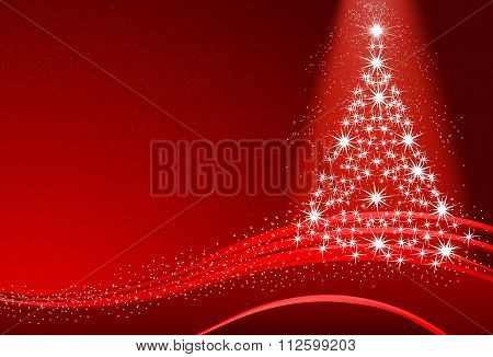 Abstract Christmas Tree With Snow On The Red Background