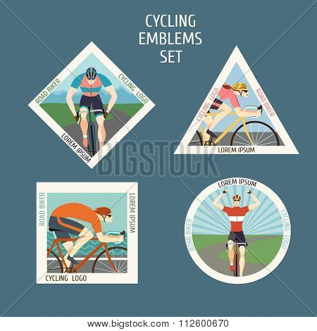 Fast Racing Cyclists Emblems Set