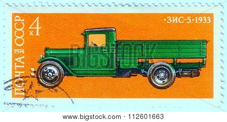 Ussr - Circa 1974: A Stamp Printed In Ussr Shows Zis 5 Truck, 1933, Development Of Russian Automotiv