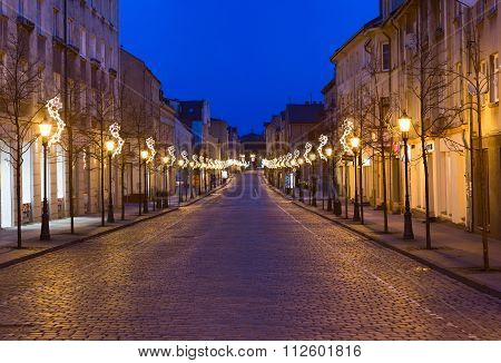 Empty cobblestone street. Old town of Klaipeda city, Lithuania