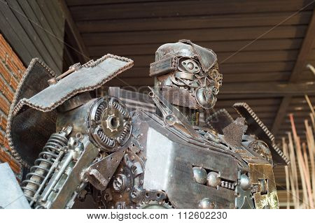 HUA HIN ,THAILAND - Dec27,2015 : Robots made from scrap in the Artist Village at Hua Hin,thailand