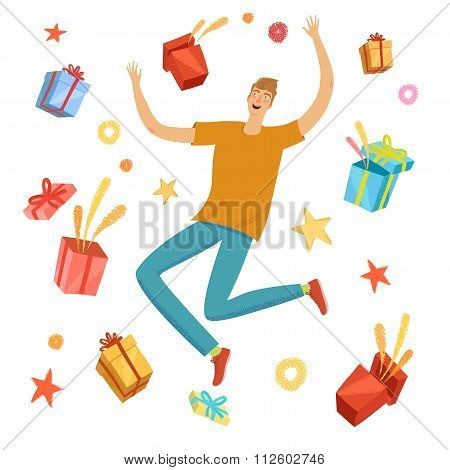 Happy Boy Jumping With Gift Boxes Around Him
