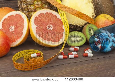 Dietary supplements for weight loss. Red grapefruit and fruit for weight loss