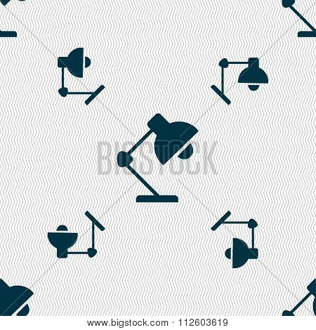 Reading-lamp And Lighting, Illumination Icon Sign. Seamless Pattern With Geometric