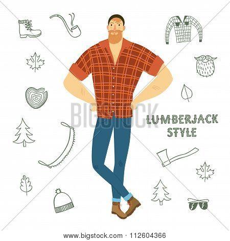 Cartoon Fashionable  Lumber-sexual Man.