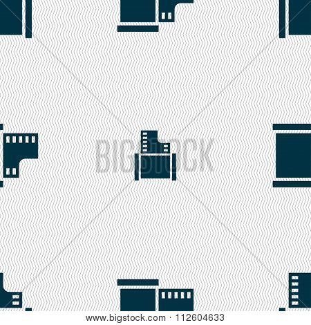35 Mm Negative Films Icon Sign. Seamless Pattern With Geometric