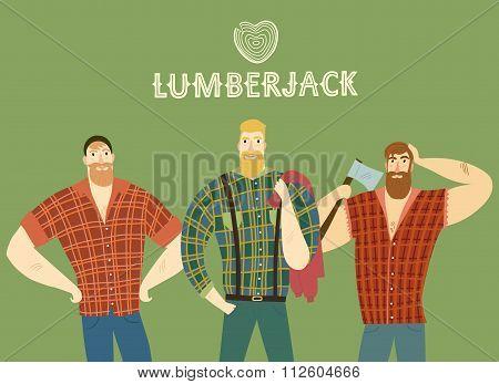 Set Of Cartoon Fashionable  Lumber-sexual Men.