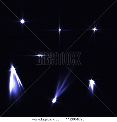 Set Light Effects Blue Bright On Dark Background. Magic Collecti