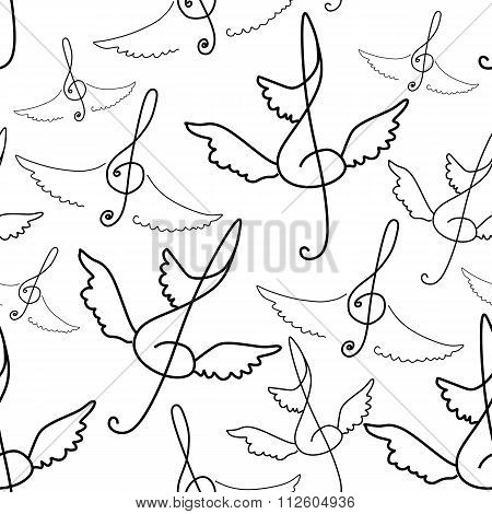 Seamless Pattern Of Treble Clef With Wings. Vector Music Background.
