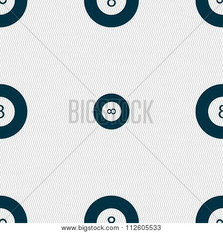 Eightball, Billiards  Icon Sign. Seamless Pattern With Geometric Texture.