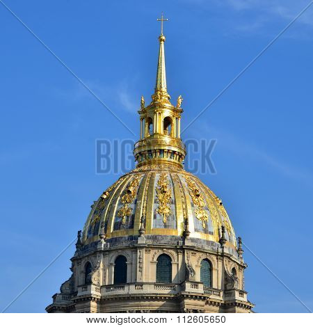 View of Dome des Invalides burial site of Napoleon Bonaparte Paris France
