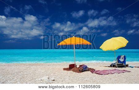 Umbrellas by a beach in Kefalonia