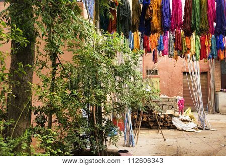 Typical colorful textiles dye in the historic Kasbah of Fes, Morocco, Africa