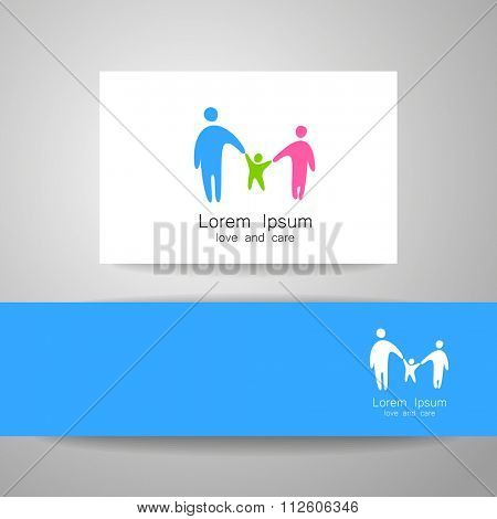 Family love logo, love family, family care logo, family logo, vector logo template