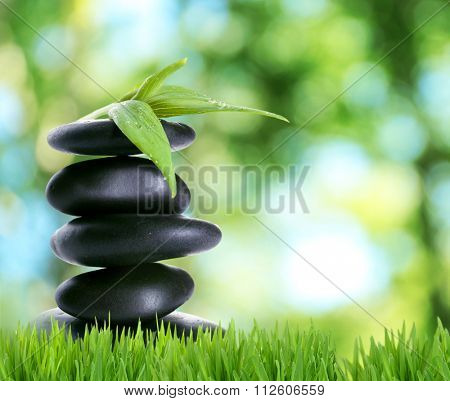 Spa stones on green grass, on nature background