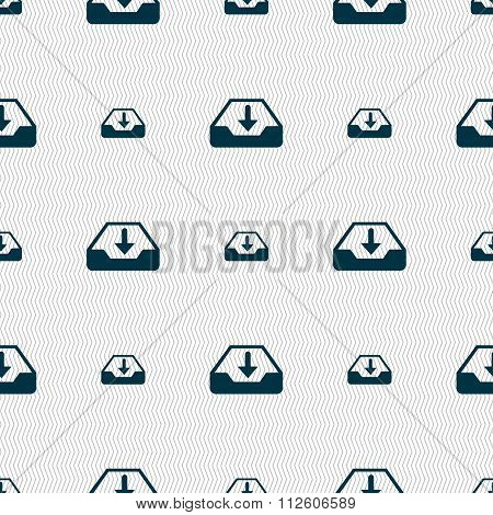 Restore Icon Sign. Seamless Pattern With Geometric Texture.