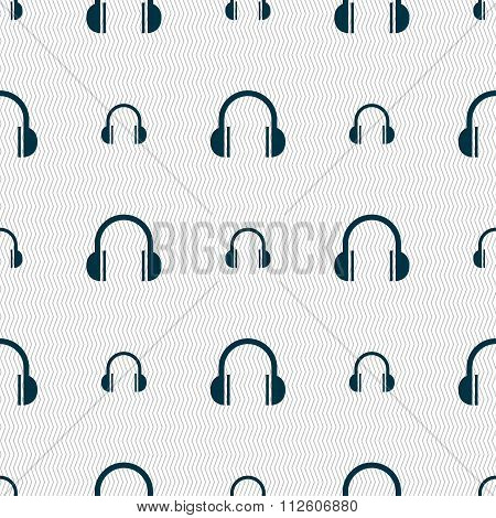 Headphones Icon Sign. Seamless Pattern With Geometric Texture.