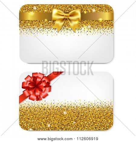 2 Gift Cards, Isolated On White Background, Vector Illustration