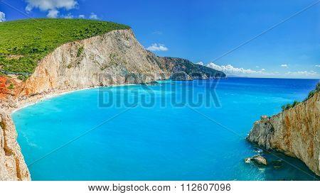 Amazing blue water in Porto Katsiki beach, Lefkada