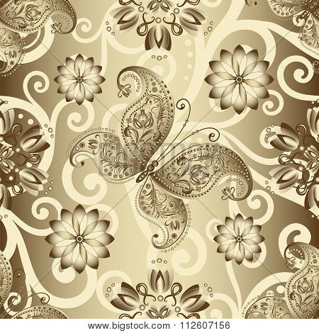 Seamless Silvery Floral Pattern