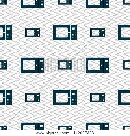 Microwave Icon Sign. Seamless Pattern With Geometric Texture.