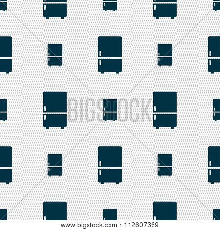 Refrigerator Icon Sign. Seamless Pattern With Geometric Texture.