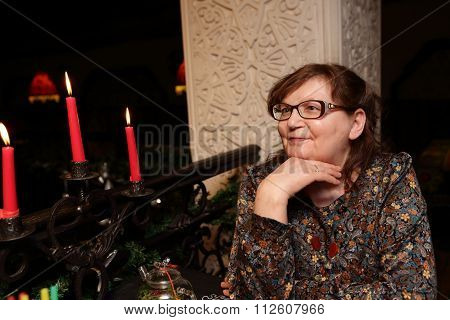 Senior Woman With Candles