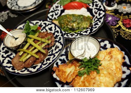 Table With Various Dishes
