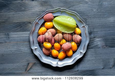 Tropical Fruit Plate With Lychees, Kumquats And Carambola Fruit