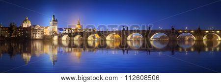 View on Charles Bridge in Prague at night
