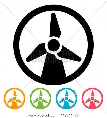Round wind turbine icon isolated on white