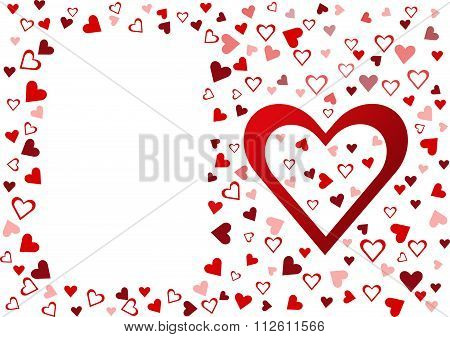 Red hearts on the white background