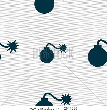 Bomb Icon Sign. Seamless Pattern With Geometric Texture.