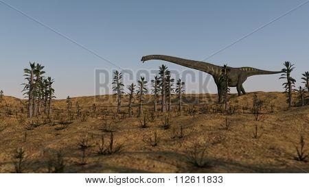 mamenchisaurus walking in tempskya grove