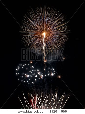 Big colorful fireworks explode in Malta in dark sky,Malta fireworks festival, 4 July, Independence,