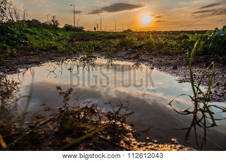 Sky reflected in a puddle of water in a field at sunset