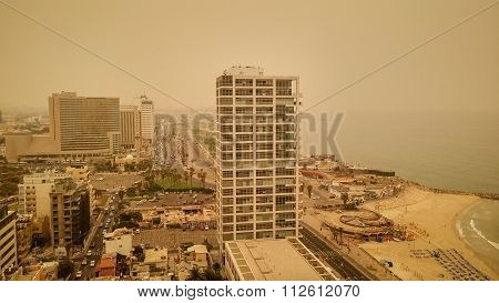 Tel Aviv city during the haze of sand on August 9, 2015