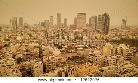 Tel Aviv city during the haze of sand on August 9, 2015