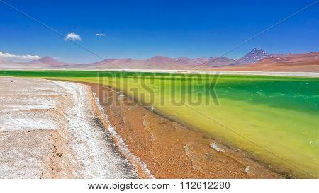 Colorful lake in Atacama Desert