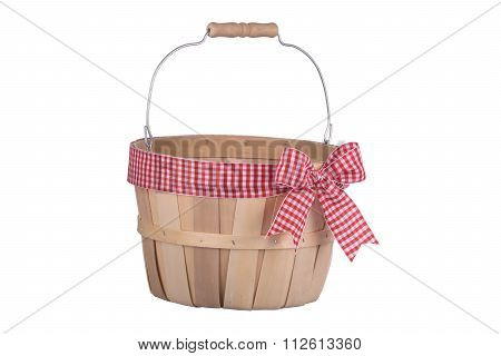 Old Fashioned Empty Wooden Basket With Plaid Ribbon Isolated On White