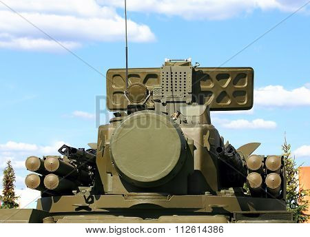 MOSCOW REGION  -   JUNE 18: Tower of self-propelled ground-based combined short to medium range surface-to-air missile and anti-aircraft artillery weapon  -  on June 18, 2015 in Moscow region