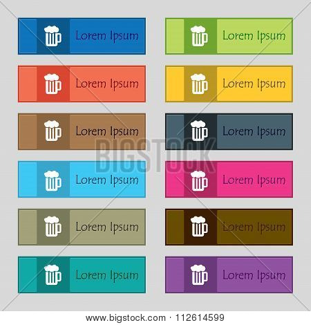 Glass Of Beer With Foam Icon Sign. Set Of Twelve Rectangular, Colorful, Beautiful, High-quality