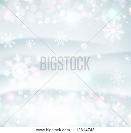 Christmas background with snowflakes blurred in the background