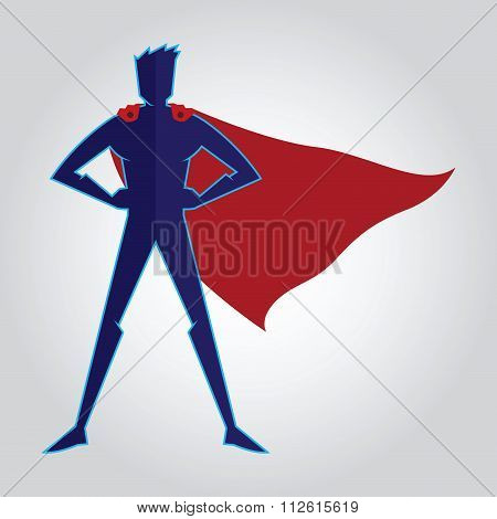 Superhero With Cape Sihouette