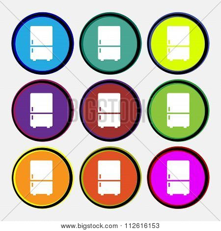 Refrigerator Icon Sign. Nine Multi Colored Round Buttons.