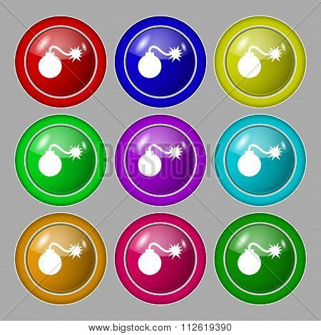 Bomb Icon Sign. Symbol On Nine Round Colourful Buttons.